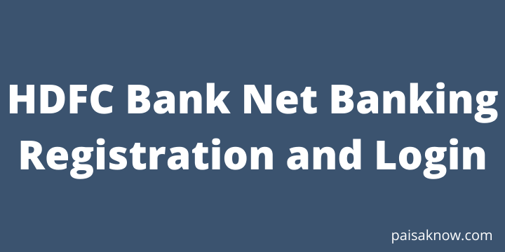 HDFC Bank Net Banking Registration and Login