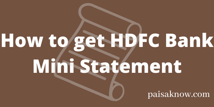 How to get HDFC Bank Mini Statement