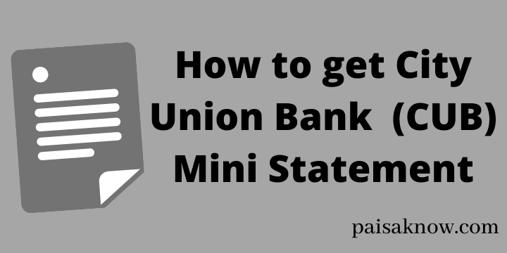 How to get City Union Bank Mini Statement