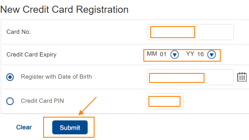enter your Credit Card Number, Card Expiry, enter your Date of Birth or Credit Card PIN and click on the Submit button