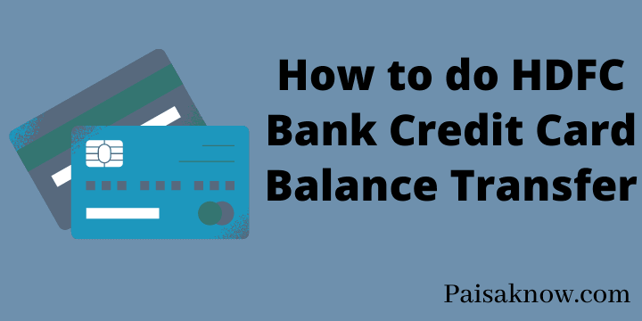 How to do HDFC Bank Credit Card Balance Transfer